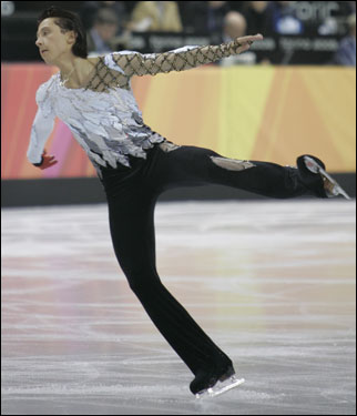 Johnny Weir trailed Plushenko by 10 points entering the men's long program.