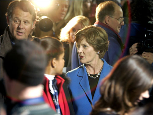 First Lady Laura Bush is shown in the lobby of the speedskating oval after taking in the men's 5,000 meter event, in which Texan Chad Hedrick of the United States took home the first gold medal of the Games for his country.