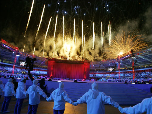 Fireworks exploded during the opening ceremony.