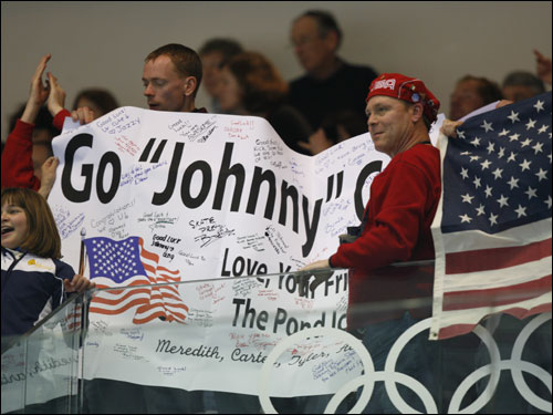 Fans cheered on Johnny Weir during the men's short program.