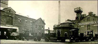 An undated photograph of the Haffenreffer brewery, which once had a famous tap that poured out free beer day and night. The area was bustling, and on many days the smell of hops filled the air.