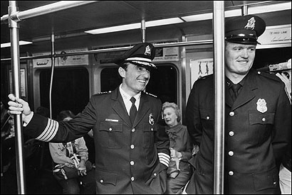 William Bratton, left, took his first ride as head of the Boston transit police in 1983.
