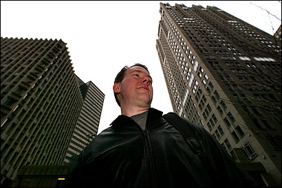 Patrick Lavoie of Easton stood on Federal Street in Boston's financial district where a skyscraper is being proposed.