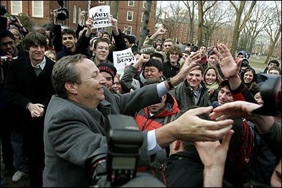 Embattled Harvard University president Lawrence H. Summers shook hands with students yesterday after he announced he will step down June 30.