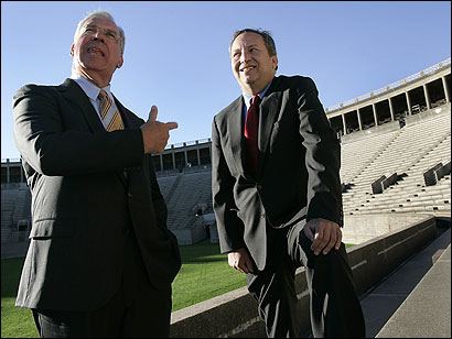 Mayor Thomas M. Menino (left) said he appreciated the direct style of Lawrence H. Summers, outgoing Harvard president. ''There was no secrecy in the Larry Summers era,'' the mayor said.