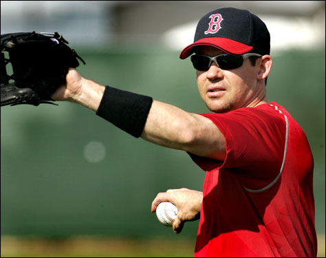 Second Baseman Mark Loretta also made his debut in a Red Sox uniform on Wednesday.