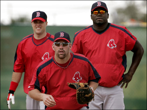 (Left to right): J.T. Snow, Kevin Youkilis, and David Ortiz may all see playing time at first base.