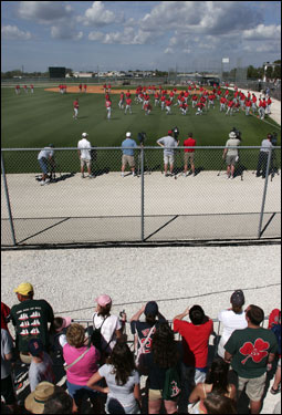 Red Sox fans were omnipresent at the team's minor league complex in Fort Myers.