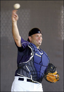 Tim Wakefield's personal catcher was traded to San Diego for Mark Loretta over the winter.