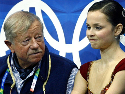 Cohen and her coach, John Nicks, looked dissapointed after hearing the scores from her long program.