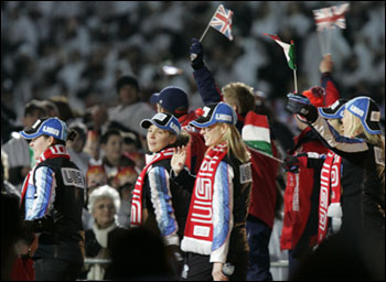 American athletes marched with fellow Olympians at Stadio Olympico during Sunday's closing ceremonies.