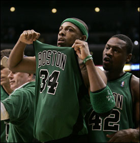 Paul Pierce (39 points) celebrates with Tony Allen after the Celtics edged the Lakers.