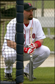 Dustan Mohr waits his turn in the batting cage; if he makes the Red Sox as a fourth outfielder he's hoping for a productive, and healthy, season.