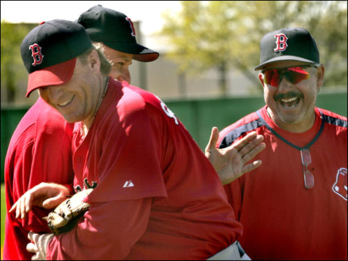 Pitcher Curt Schilling and manager Terry Francona shared a laugh after Schilling's session on the mound Tuesday throwing live batting practice. The team had a shortened workout because of a team meeting in the morning.