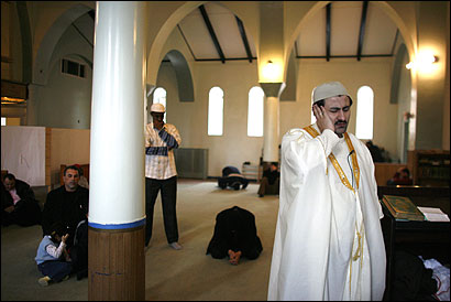 Imam Ibrahim Sayar during a call to prayer last month at a former Catholic church in Revere that is being converted into a mosque at a cost of nearly $1 million.