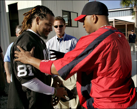 Manny Ramirez arrived at the Red Sox spring training complex at 9:01 a.m. on Wednesday. He was greeted with a hug by his friend, and nonroster invitee, Enrique Wilson.