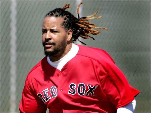 Manny took the field shortly after arriving at the Red Sox spring complex on Wednesday.
