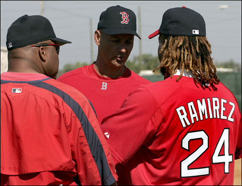 Red Sox hitting coach Ron 'Papa Jack' Jackson and manager Terry Francona got together briefly with Manny Ramirez after his arrival Wednesday.