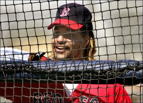 Ramirez waits for his turn taking batting practice.