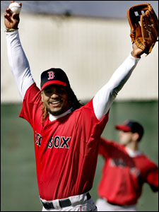 Manny Ramirez came to Red Sox camp yesterday looking more fit than last year.