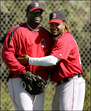 Manny Ramirez and David Ortiz were happy to be back together again.