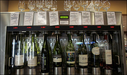 Brookline's Wine Gallery allows customers to dispense wine themselves, using a debit card and pouring wine into glasses stored on top of the 'wine jukebox' machine.