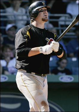 Pittsburgh's Ryan Doumit watched his three-run home run in the fifth inning off Matt Ginter.