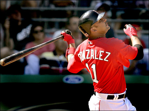 Alex Gonzalez flew out to left field in the fourth inning.
