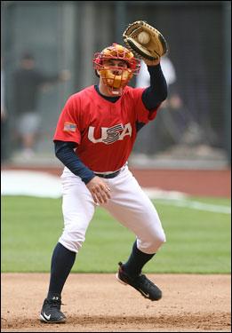 Team USA catcher Jason Varitek fielded ground balls in preparation for a game against Mexico.