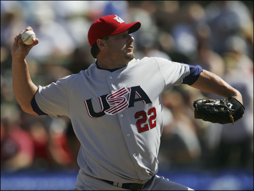 Roger Clemens threw warm up pitches to battery mate Jason Varitek before his exhibition start for Team USA.