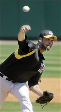 Pirates starting pitcher Ryan Vogessong pitched to Boston's Willie Harris in the second inning.