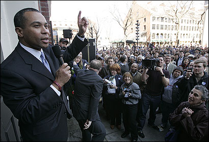 Democratic gubernatorial candidate Deval L. Patrick told a large crowd of supporters at Faneuil Hall yesterday that their work has only just begun.