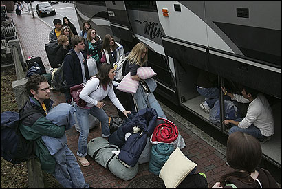 Students on the pay-it-forward tour prepared to head to New York City for their next activity. They had spent yesterday volunteering at the Harvard Square Homeless Shelter.