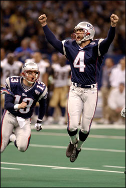 Vinatieri's 48-yard field goal in the final seconds of Super Bowl XXXIX against St. Louis gave the Patriots their first Super Bowl win.