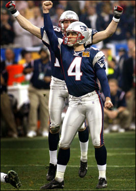 Vinatieri added the exclamation point on his 41-yard, game-winning kick in Super Bowl XXXVIII against Carolina.