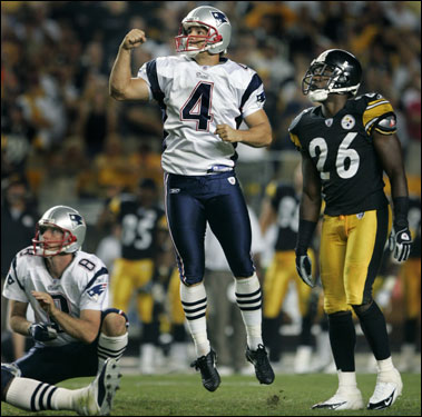 Vinatieri beat the Steelers with this 43-yard field goal with just :01 remaining on the clock, the 19th of his career.