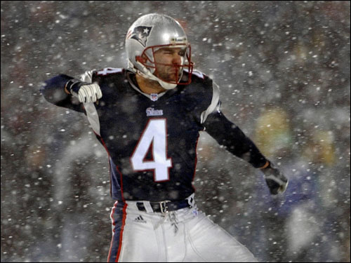 In what is widely considered the most clutch kick in NFL history, Vinatieri booted a 45-yard field goal with 27 seconds left in regulation through the driving snow to tie the Raiders and send the divisional playoff game into overtime.