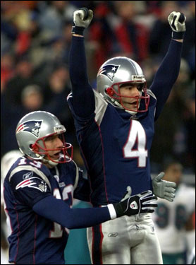 Vinatieri celebrated one of his five game-winners during the 2002 season, this one coming against the Dolphins.
