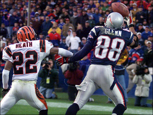 Bengals cornerback Rodney Heath was charged with pass interference on Terry Glenn, setting up a chip-shot field goal for Vinatieri.