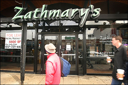 Zathmary's, long an anchor in Coolidge Corner, sold specialty foods and employed up to eight chefs.