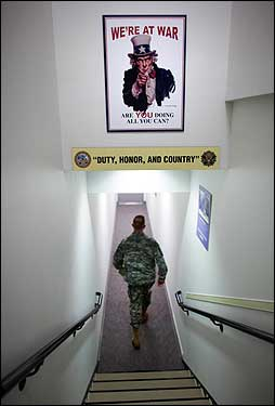 A poster in the Pentagon reminds military and civilian workers of the importance attached to the US mission in Iraq, now in its fourth year.