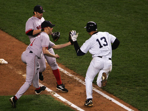 The second came during Game 6 of the 2004 ALCS. Alex Rodriguez infamously slapped the ball out of Arroyo's hand while running toward first base. A-Rod was eventually ruled out.