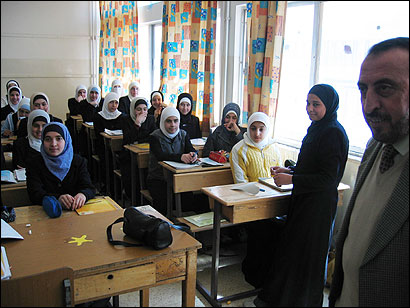 Girls attending English class at the House of Akram School, which is part of Jordan's Muslim Brotherhood political organization.