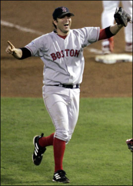 Doug Mientkiewicz squeezed the final out of the 2004 World Series and didn't let go ... for a long, long time. Three months after being traded to the Mets for cash and a minor league player (in January, 2005), Mientkiewicz got into a legal battle with the Red Sox regarding ownership of the famous baseball. Mientkiewicz is currently playing for the Royals.