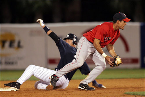 Derek Jeter was out at second base as Alejandro Machado started a double play.