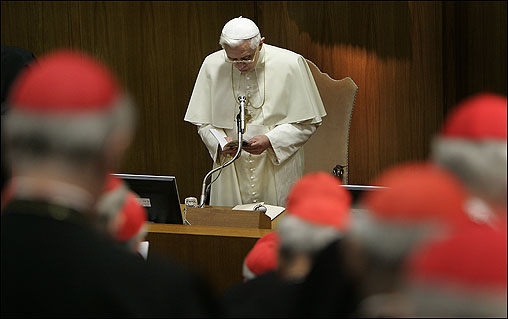 Pope Benedict XVI convened the College of Cardinals on Thursday for the first time since his election last year, inviting its 178 members to share their concerns about the challenges facing the Catholic Church.