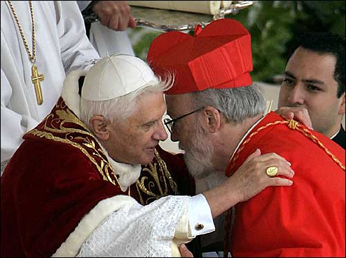 Pope Benedict XVI exchanged a congratulatory embrace with O'Malley and the 14 other new cardinals. They will serve as advisers to the pope, and one day will elect Benedict's successor.