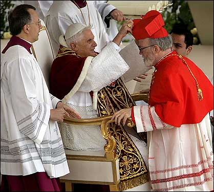 In an elaborate ceremony filled with symbolism, Pope Benedict XVI installed his first group of cardinals in St. Peter's Square. Boston's Sean O'Malley received his biretta during the 90-minute consistory.