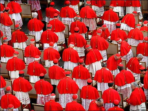 Pope Benedict XVI installed his first group of cardinals on Friday at the Vatican, including Sean O'Malley of Boston. Cardinals prepared to be seated during the ceremony, held at the facade of Saint Peter's. The College of Cardinals gained 15 new members.
