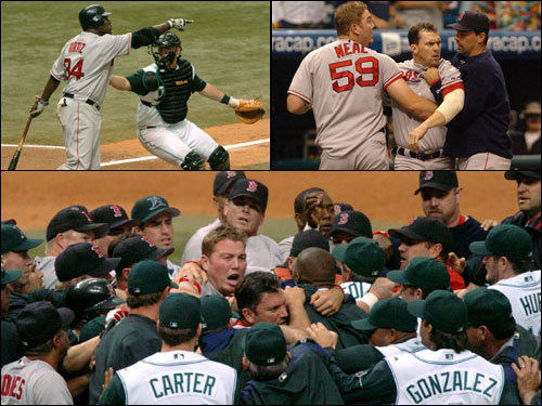April 24, 2005 In the finale of a series that had seen multiple batters hit by pitches on both sides, things got really ugly. In the bottom of the sixth, Aubrey Huff was hit by Red Sox starter Bronson Arroyo. In the seventh, Lance Carter threw behind Ramirez, who calmly took the next pitch over the left field wall, giving the Sox a 5-2 lead. David Ortiz stepped up and took a 2-1 pitch that just missed his head, clearing both benches and causing a skirmish on the infield turf. Trot Nixon and Dewon Brazelton got into it, and were both ejected.